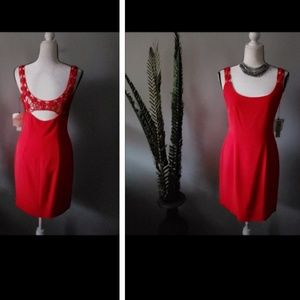 Cache red dress with detailed straps and back NWT
